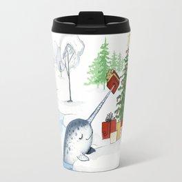Christmas Narwhal Travel Mug