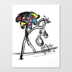 The Sad Fisherman and the Running Scissors Canvas Print