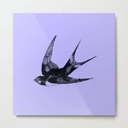 Swallow on Blue Metal Print