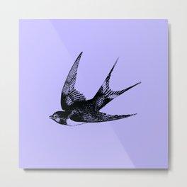 Swallow on Blue Metal Print