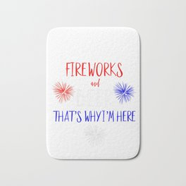 Womens Fireworks Director Shirt 4th of July Beer Thats Why I'm Here V-Neck T-Shirt Bath Mat