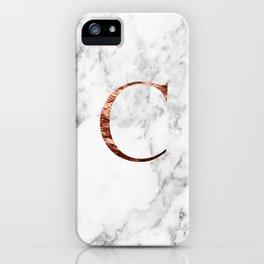Monogram rose gold marble C iPhone Case