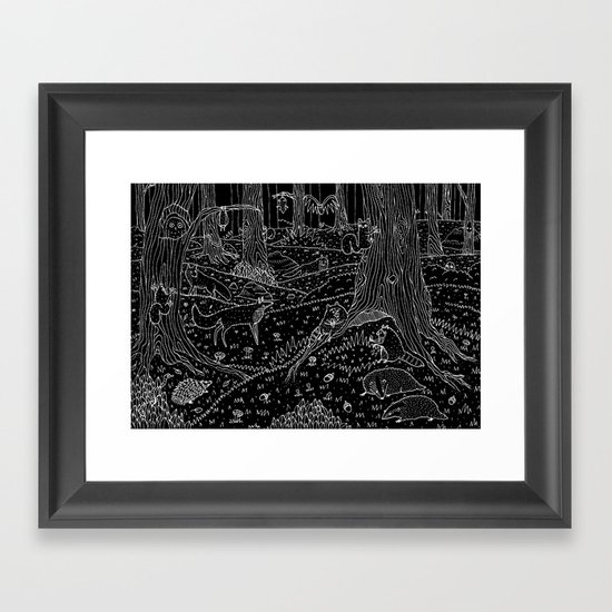 Nocturnal Animals of the Forest Framed Art Print