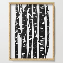 Woodcut Birches Black Serving Tray