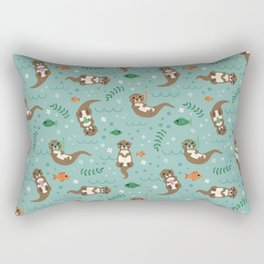 Kawaii Otters Playing Underwater Rectangular Pillow