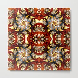 Fractal Art - Spiral in red and gold Metal Print