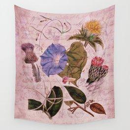 Botanical Study #4, Vintage Botanical Illustration Collage Art Wall Tapestry