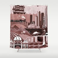 melbourne Shower Curtains featuring Melbourne Travel Poster Illustration by ClaireIllustrations