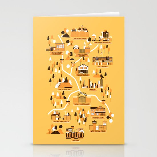 Survivors Map Stationery Cards