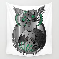 clockwork Wall Tapestries featuring Clockwork Owl by Sarah Pain
