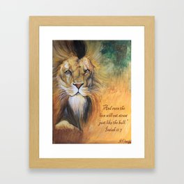 The Lion and Digital Scripture Text Framed Art Print