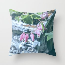 Soft Pink Bleeding Hearts Throw Pillow