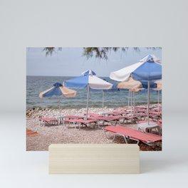 Umbrella Beach   Greece   Color Art Print   Bleu   Red Mini Art Print