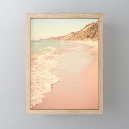 Her Mind Wandered Back and Forth With the Waves Framed Mini Art Print