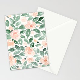 "Loose watercolor florals, ""Miriam"" Stationery Cards"