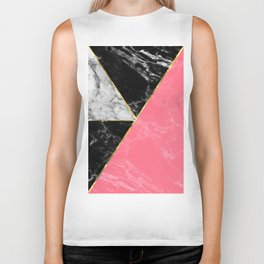 Marble color collection geometric abstract design Biker Tank