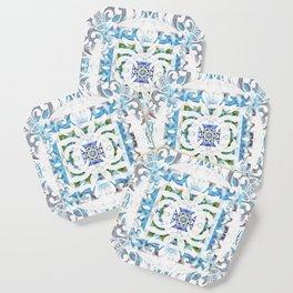 Peaceful Spanish Rococo Boho Sacred Geometry Stamp Print Coaster