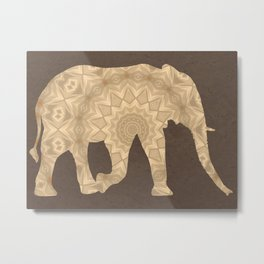 Bohemian Elephant Mandala A395 Metal Print