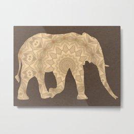 Bohemian Elephant BoHo Hipster Gypsy Mandala A395 Metal Print