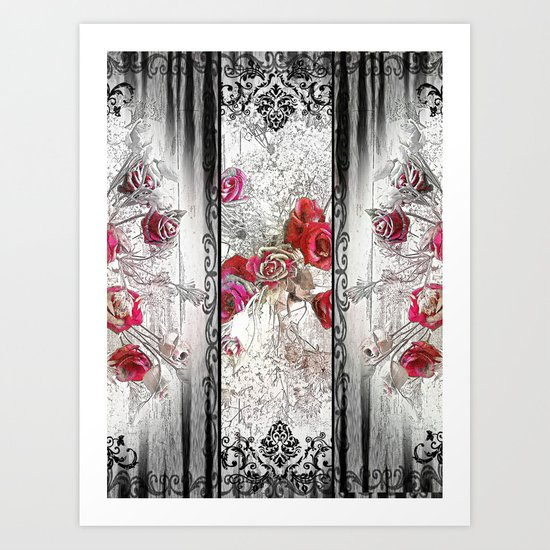 Gothic Victorian Roses Design Art Print