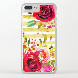 Flowers & Stripes 2 Clear iPhone Case