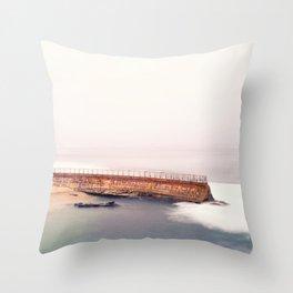 La Jolla Seawall and Seals Throw Pillow