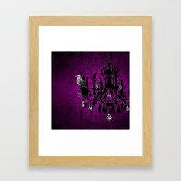 Bird & Purple Damask Sparkly Chandelier Silhouette Framed Art Print