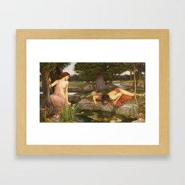 John William Waterhouse - Echo and Narcissus Framed Art Print