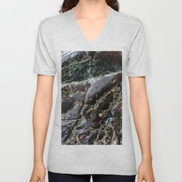 Ocean Weathered Natural Rock Texture with Barnacles Unisex V-Neck