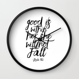 Psalm 46:5 God Is Within Her She Will Not Fall, Nursery Girls,Gift For Her,Bible verse,Scripture Art Wall Clock
