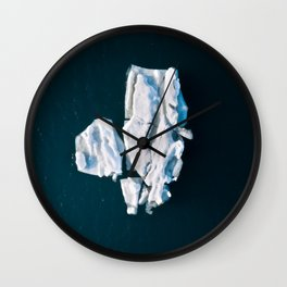 Lone, minimalist Iceberg from above - Landscape Photography Wall Clock