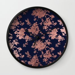 Modern elegant navy blue faux rose gold floral Wall Clock