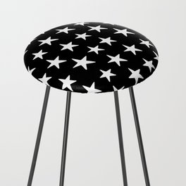 Star Pattern White On Black Counter Stool