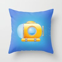 submarine Throw Pillows featuring submarine by JuliaTara