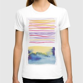 27   |181026 Lines & Color Block | Watercolor Abstract | Modern Watercolor Art T-shirt
