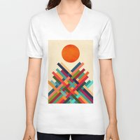 sun V-neck T-shirts featuring Sun Shrine by Picomodi