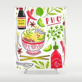 Vietnamese Pho Soup Sriracha Shower Curtain