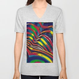 2602s-AK Nude Body Back Striped Abstraction Bright Color Pastel by Chris Maher Unisex V-Neck
