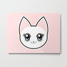 White Anime Eyes Cat Metal Print