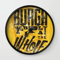 pittsburgh Wall Clocks featuring Pittsburgh Steelers by Sciulli