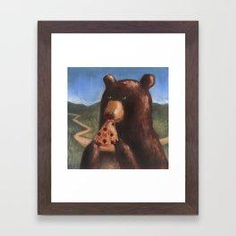 Bear Eating Pizza Framed Art Print