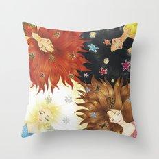 The 4 seasons girls Throw Pillow