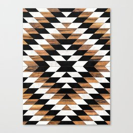 Urban Tribal Pattern No.13 - Aztec - Concrete and Wood Canvas Print