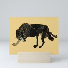 Black wolf totem (nubilus) Mini Art Print