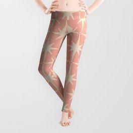 Atomic Age 1950s Retro Starburst Pattern in Cream and Blush Pink  Leggings