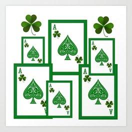 ACES HIGH LUCKY IRISH CASINO CARDS Art Print