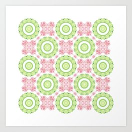 Floral Pattern - Lime Green & Pink Art Print