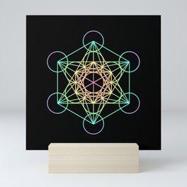 Metatron's Cube- Rainbow on Black Mini Art Print