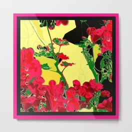 Cherry Red floral Abstract Design Metal Print