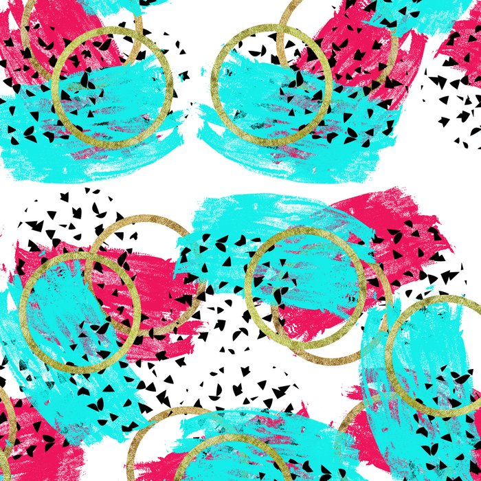 Abstract Aqua Blue Pink and Faux Gold Brushstrokes Leggings